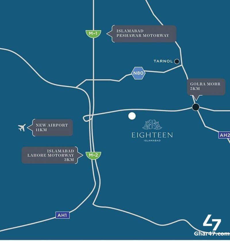 Eighteen Islamabad Location Map