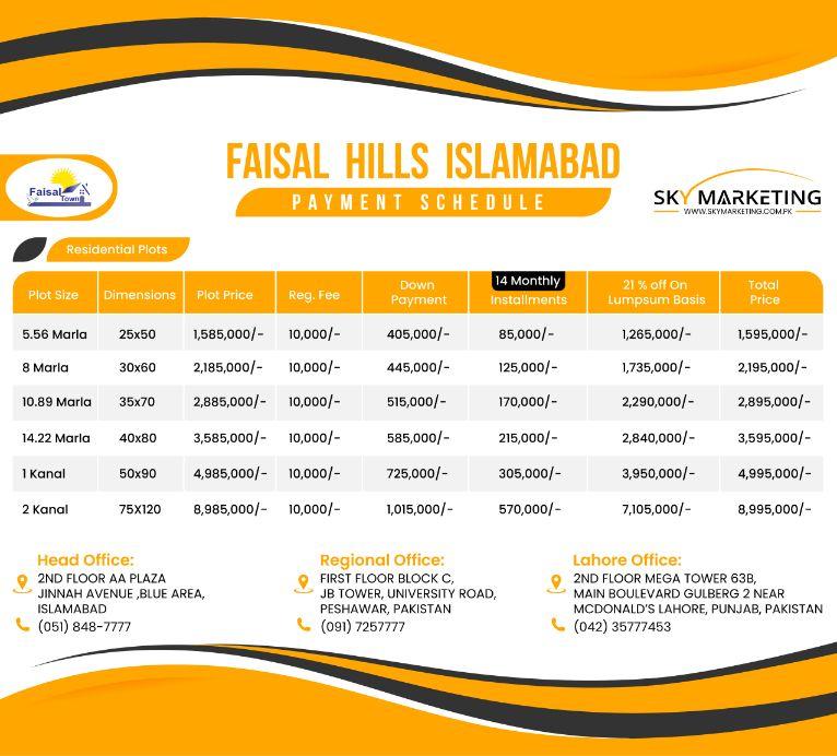 Faisal Hills Islamabad Payment Plan
