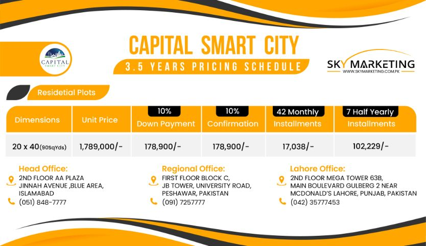 Capital Smart City Harmony Park 3.5 Year Payment Plan