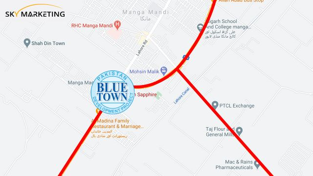 Blue Town Sapphire Lahore Location map