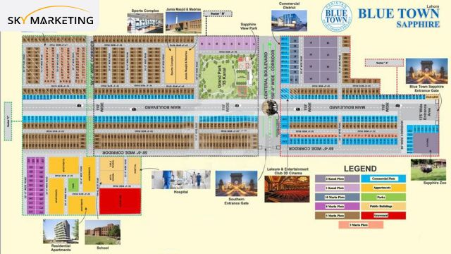 Master Plan of Blue Town Sapphire Lahore