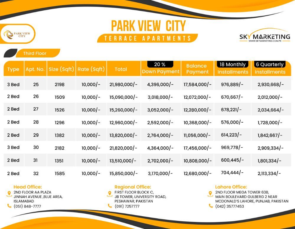 Park View City Terrace Apartment Third Floor Payment Plan