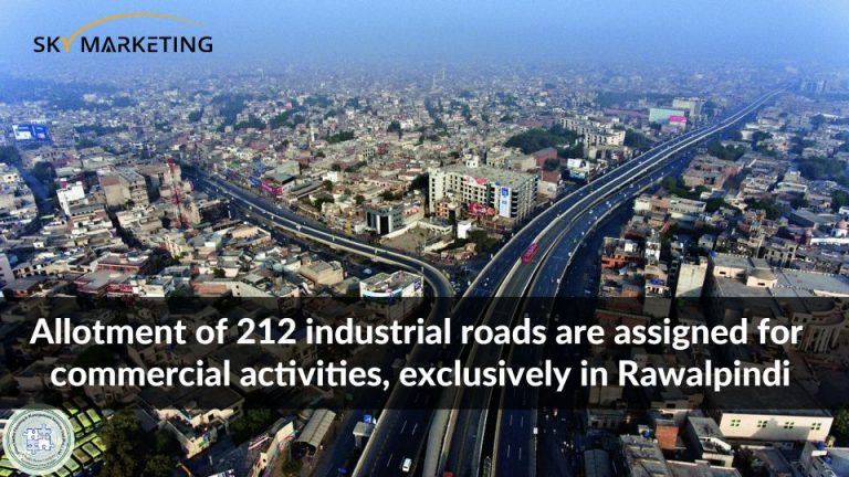 Allotment of 212 industrial roads are assigned for commercial activities, exclusively in Rawalpindi