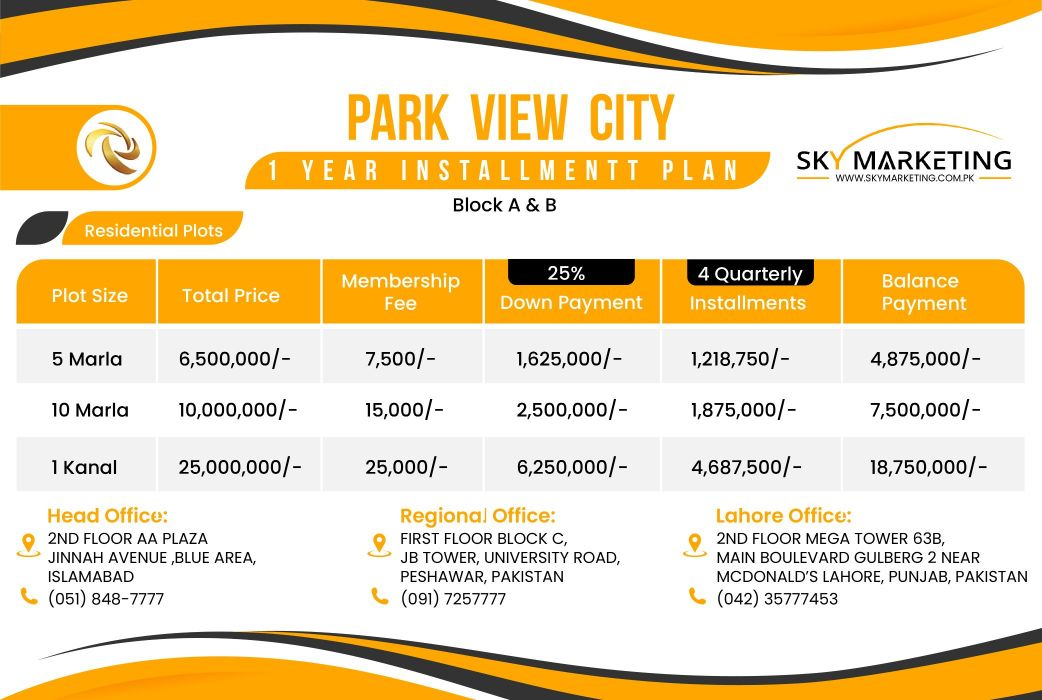 Park View City A & B Block Payment Plan