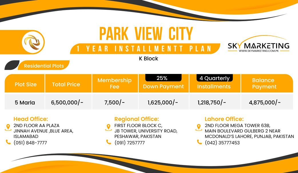Park View City Payment Plan K block