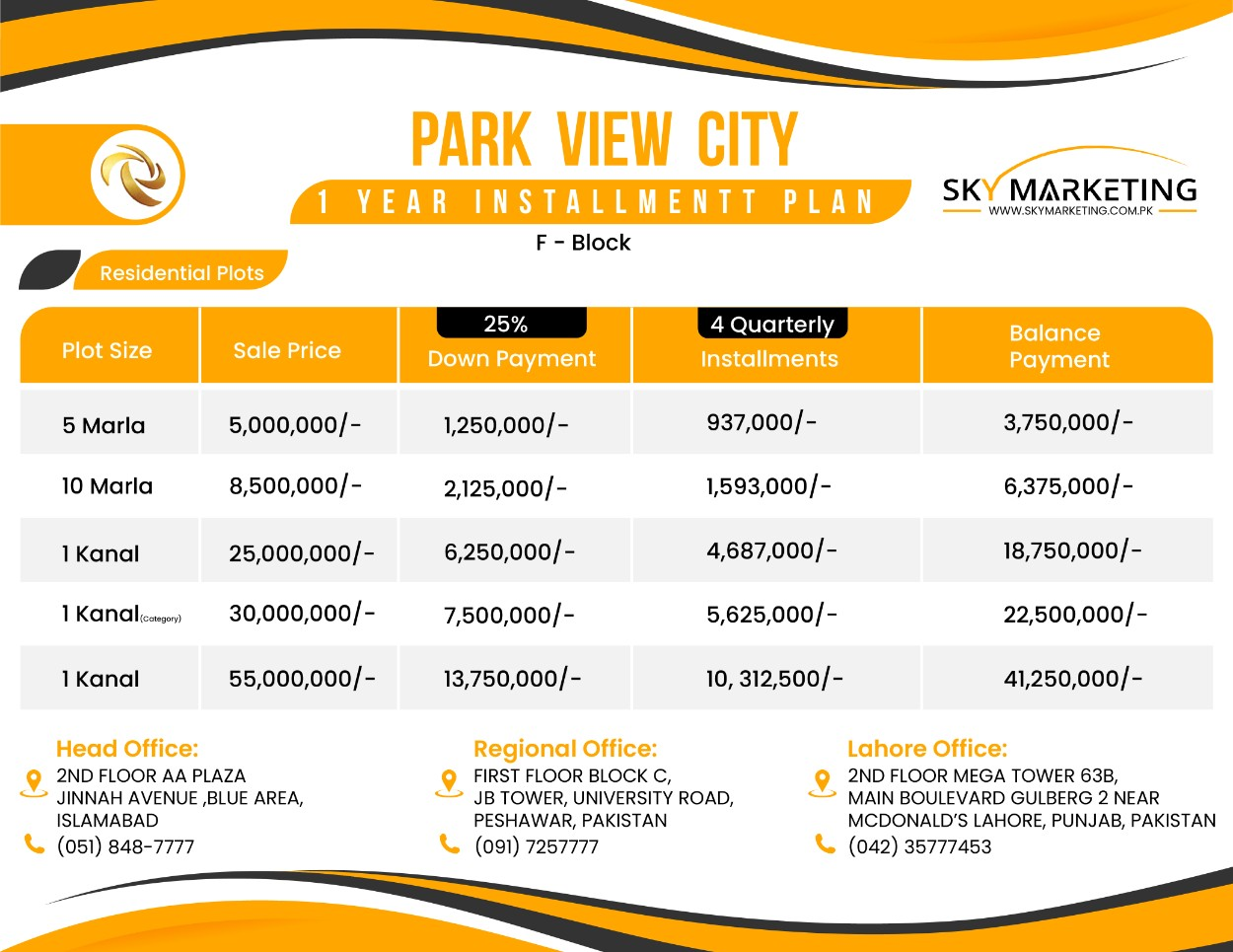 Park View City F Block Payment Plan