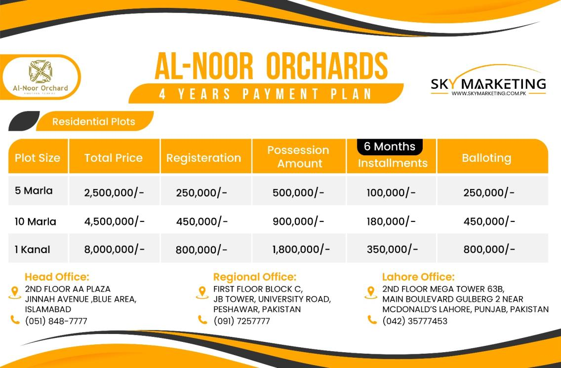 al noor orchard Lahore 4 years payment plan