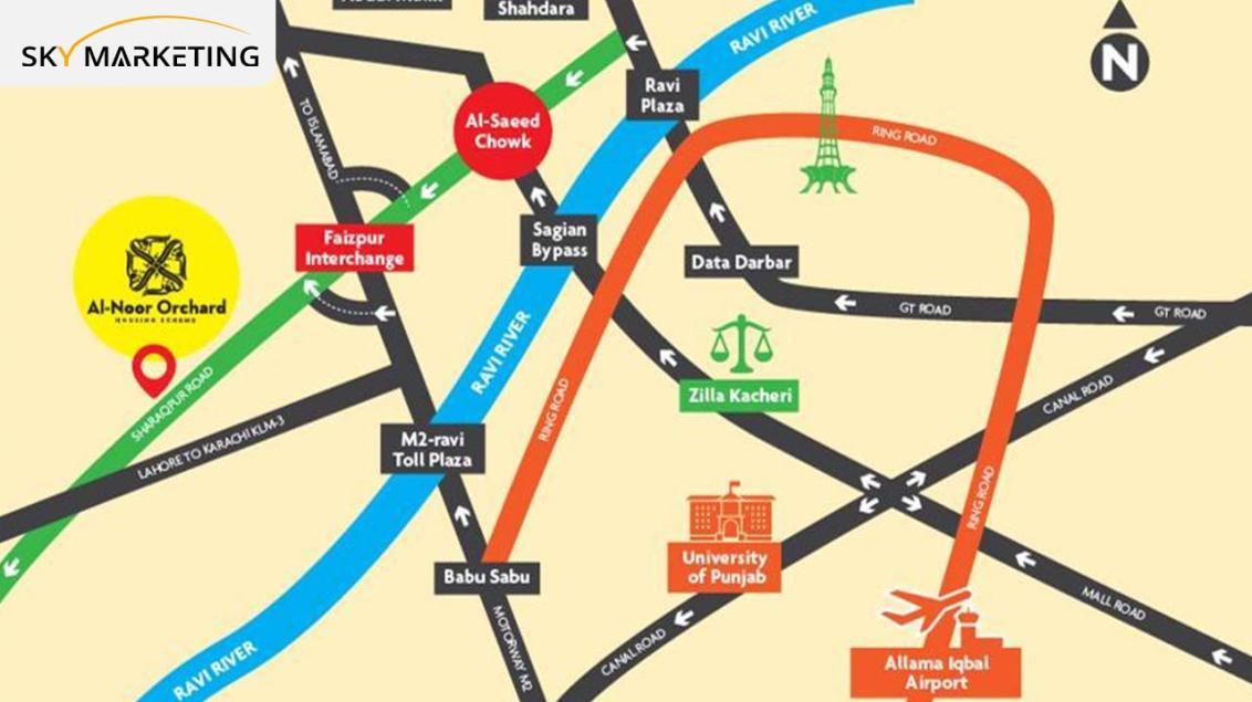 Al Noor Orchard Lahore Location Map