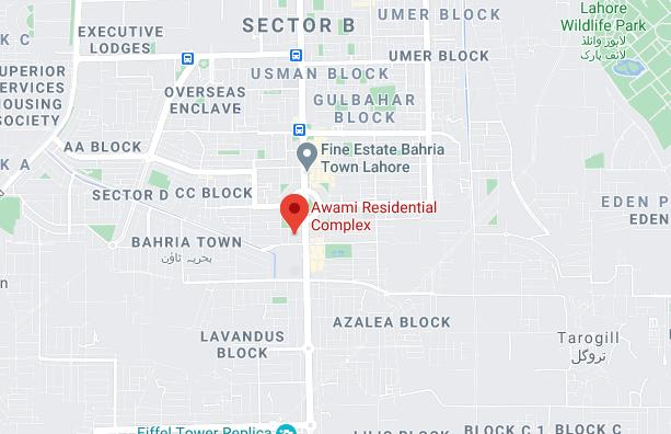 Awami Residential Complex Lahore & Islamabad Map