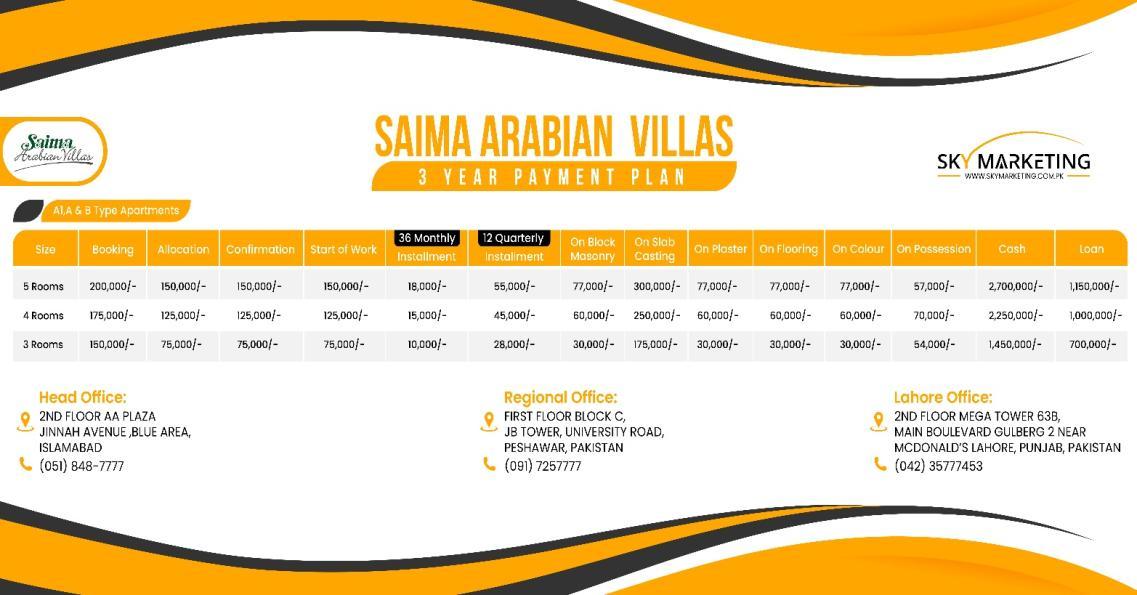 Saima Arabian Villas 3-Yealy Installment Plan