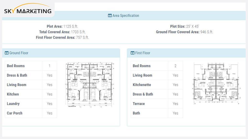 5 Marla 3 bed Mediterranean Smart Villa Area Specification: