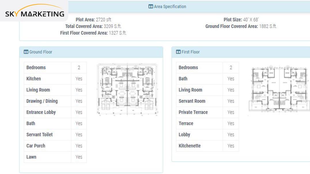 12 Marla 4 bed Mediterranean Smart Villa Area Specification