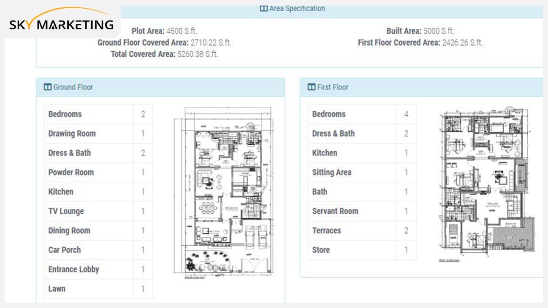 1 Kanal 6 bed Mediterranean Smart Villa Area Specification