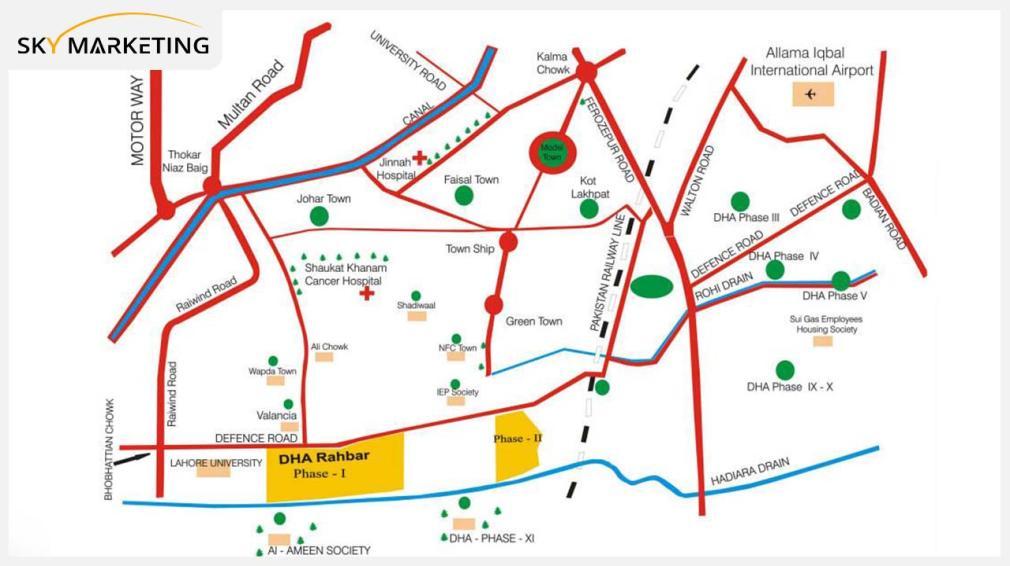DHA Rahbar Lahore Location