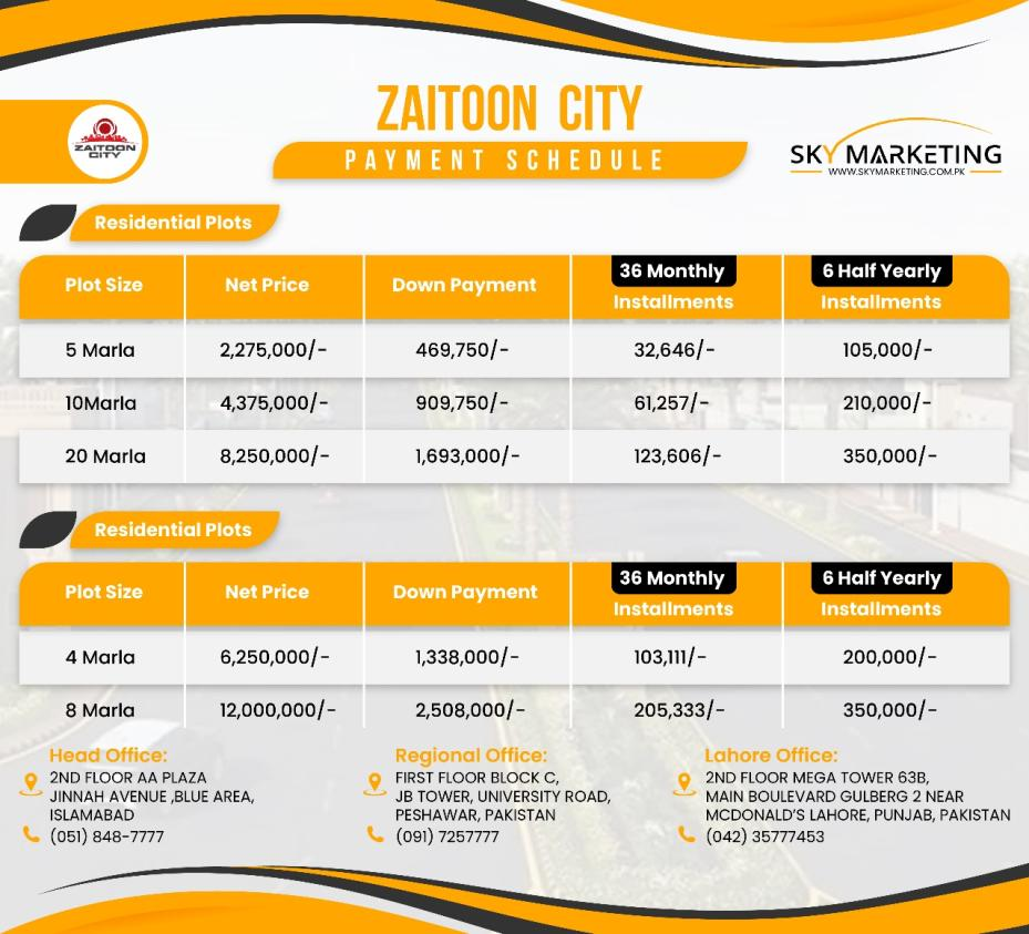 Zaitoon City Lahore Residential Plots Payment Plan