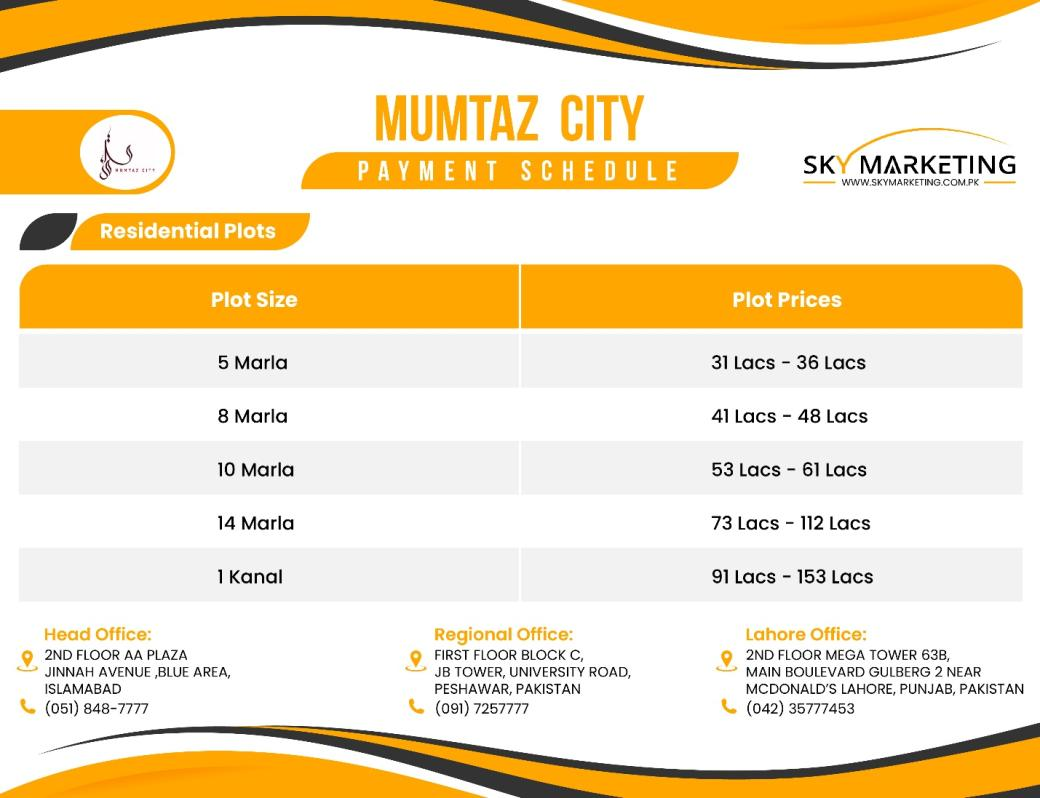 Mumtaz City Islamabad Payment Prices