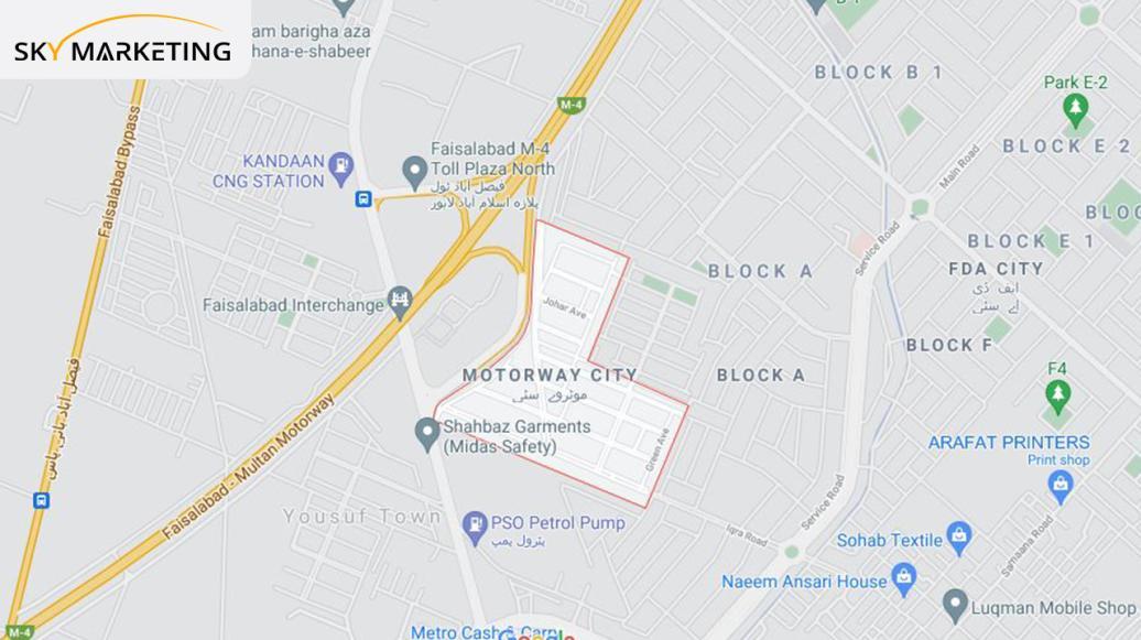 Motorway City Faisalabad Location
