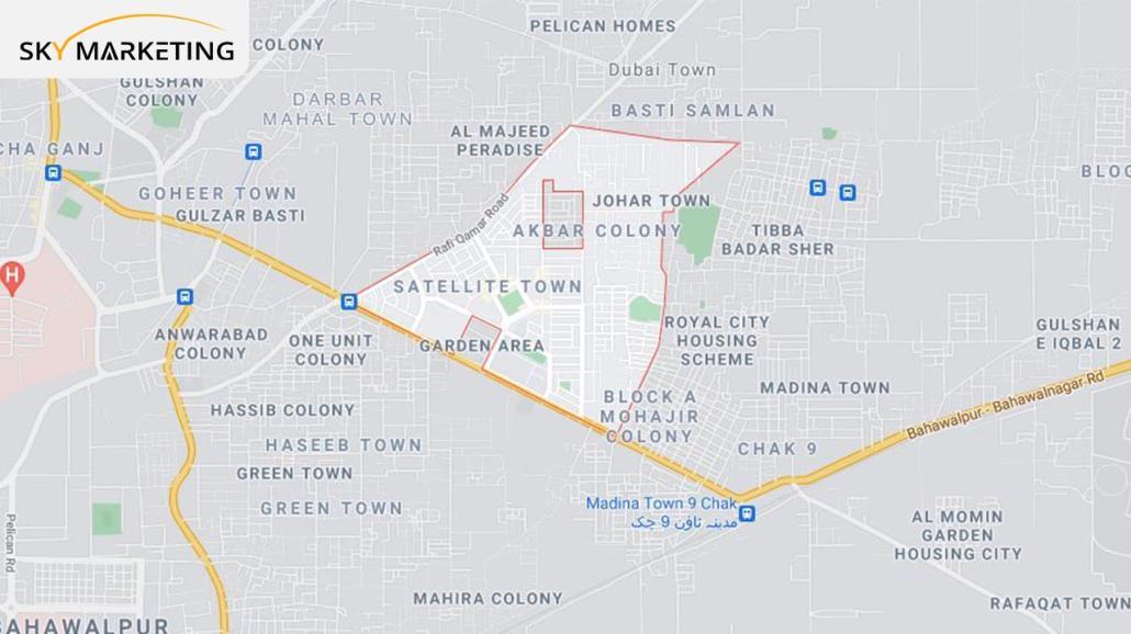 Satellite Town Bahawalpur Location