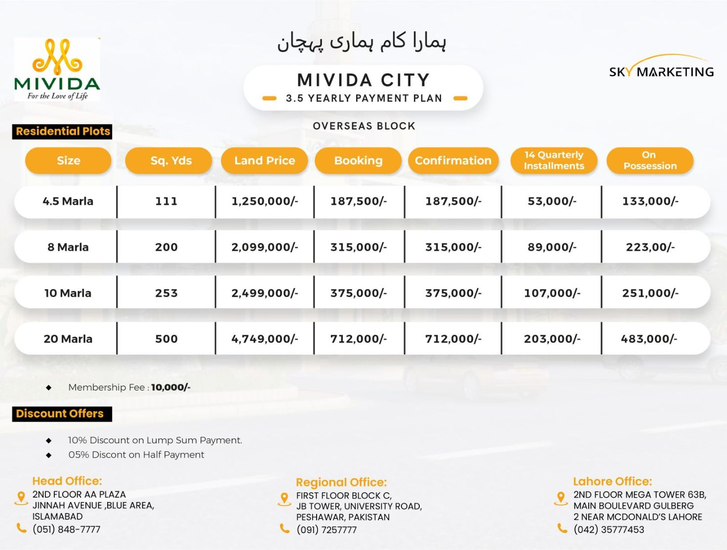 Mivida City Islamabad Residential Plots Payment Plan