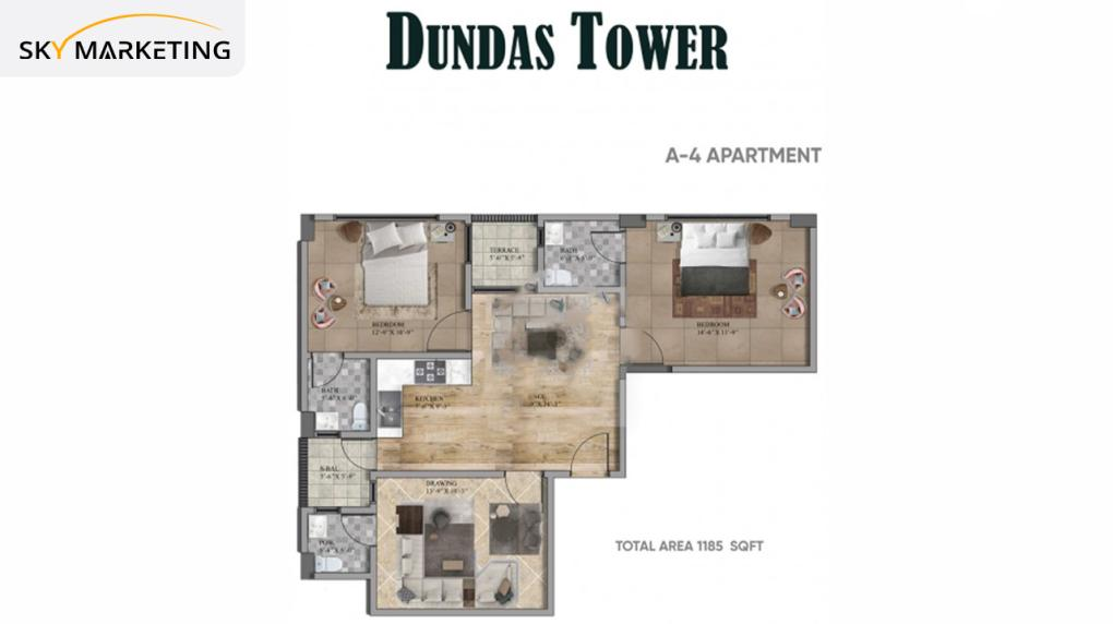 Dundas Tower A-4 Apartment Floor Plan