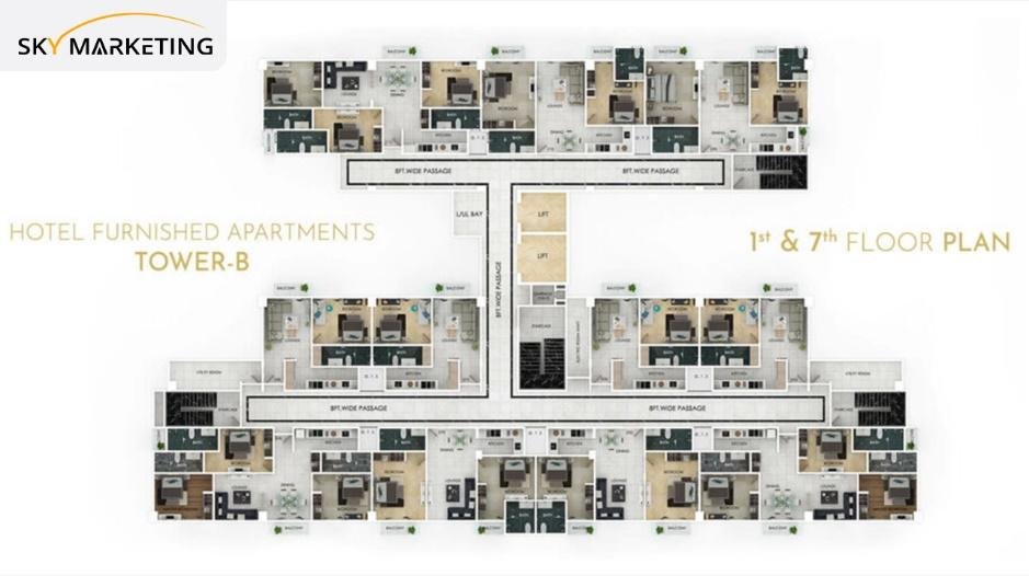 Grand Millenium Tower-B 1st to 7th Floor Plans