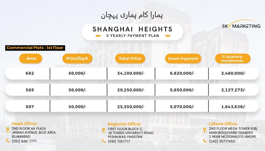 Shanghai Heights Gulberg Payment Plan 1st Floor Commercial Plots