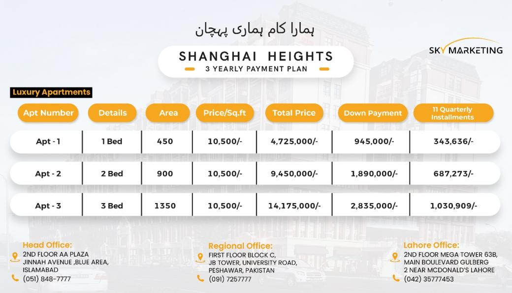 Shanghai Heights Gulberg Payment Plan Luxury Apartments