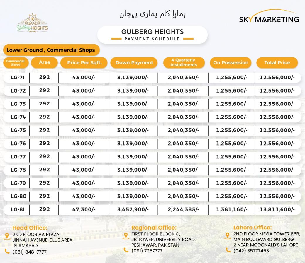 Gulberg Heights Islamabad Payment Plan Lower Ground (Commercial shops)