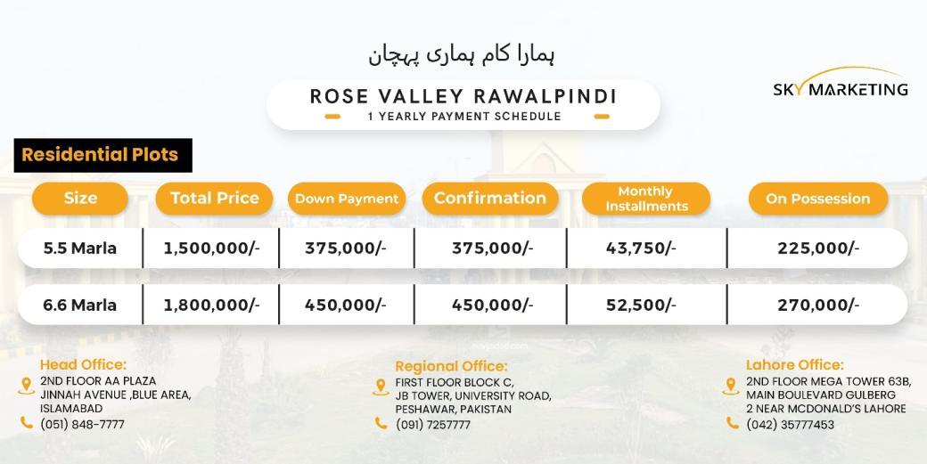 Rose Valley Rawalpindi Payment Plan
